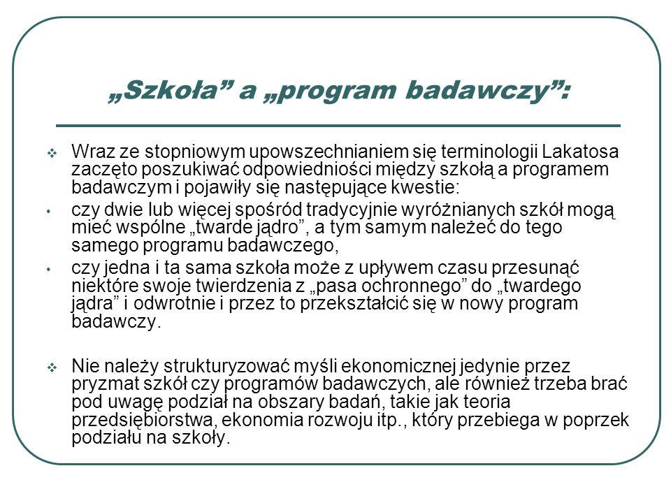Szkoła a program badawczy: Wraz ze stopniowym upowszechnianiem się terminologii Lakatosa zaczęto poszukiwać odpowiedniości między szkołą a programem b