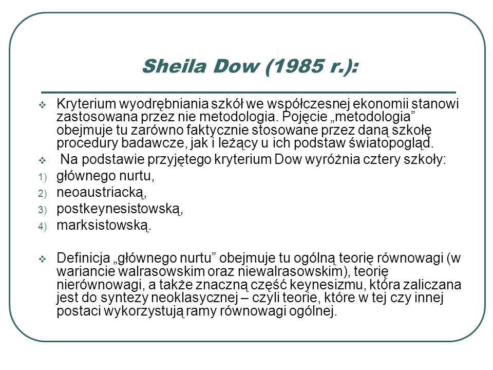 Sheila Dow (1985 r.): Kryterium wyodrębniania szkół we współczesnej ekonomii stanowi zastosowana przez nie metodologia. Pojęcie metodologia obejmuje t
