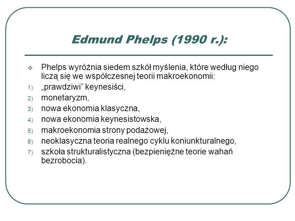 Edmund Phelps (1990 r.): Phelps wyróżnia siedem szkół myślenia, które według niego liczą się we współczesnej teorii makroekonomii: 1) prawdziwi keynes