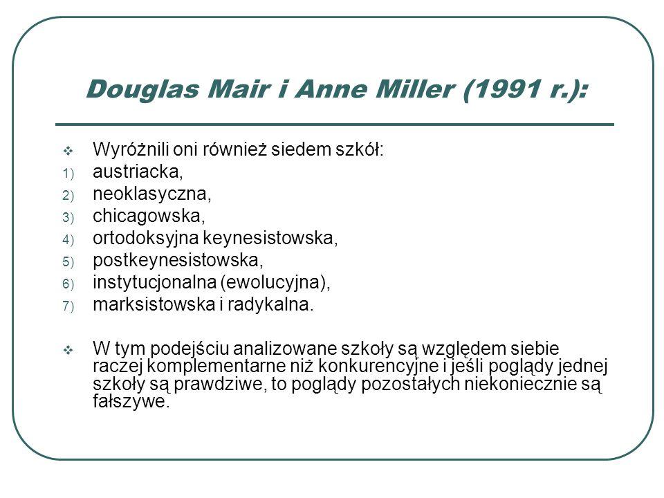 Douglas Mair i Anne Miller (1991 r.): Wyróżnili oni również siedem szkół: 1) austriacka, 2) neoklasyczna, 3) chicagowska, 4) ortodoksyjna keynesistows