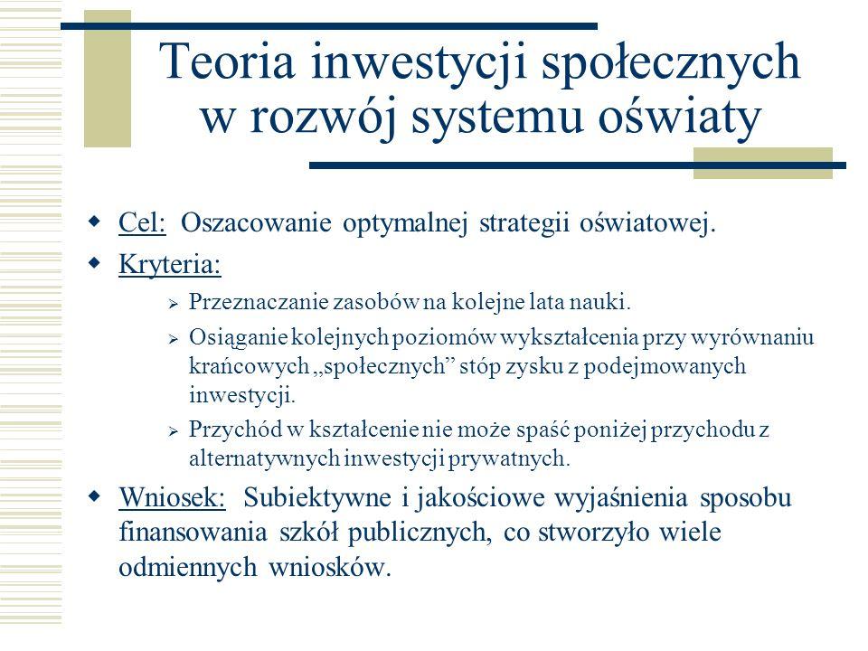 Teoria inwestycji społecznych w rozwój systemu oświaty Cel: Oszacowanie optymalnej strategii oświatowej. Kryteria: Przeznaczanie zasobów na kolejne la