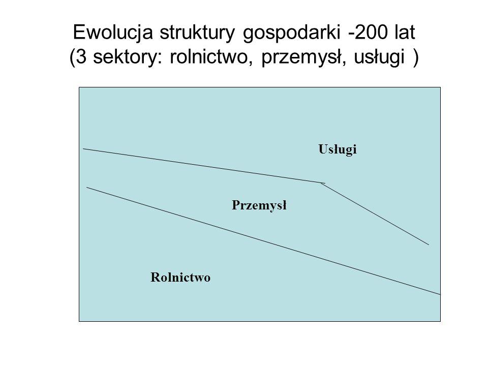Ewolucja struktury gospodarki -200 lat (3 sektory: rolnictwo, przemysł, usługi ) Przemysł Usługi Rolnictwo