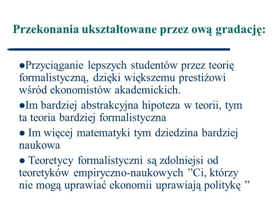 Przekonania ukształtowane przez ową gradację: Przyciąganie lepszych studentów przez teorię formalistyczną, dzięki większemu prestiżowi wśród ekonomistów akademickich.