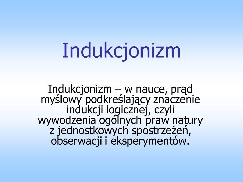 Indukcjonizm Indukcjonizm – w nauce, prąd myślowy podkreślający znaczenie indukcji logicznej, czyli wywodzenia ogólnych praw natury z jednostkowych sp