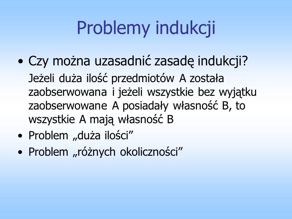 Problemy indukcji Czy można uzasadnić zasadę indukcji? Jeżeli duża ilość przedmiotów A została zaobserwowana i jeżeli wszystkie bez wyjątku zaobserwow