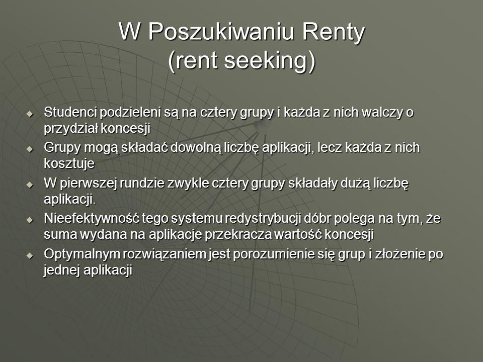 W Poszukiwaniu Renty (rent seeking) Studenci podzieleni są na cztery grupy i każda z nich walczy o przydział koncesji Studenci podzieleni są na cztery