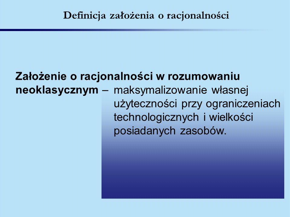 Definicja założenia o racjonalności maksymalizowanie własnej użyteczności przy ograniczeniach technologicznych i wielkości posiadanych zasobów. Założe