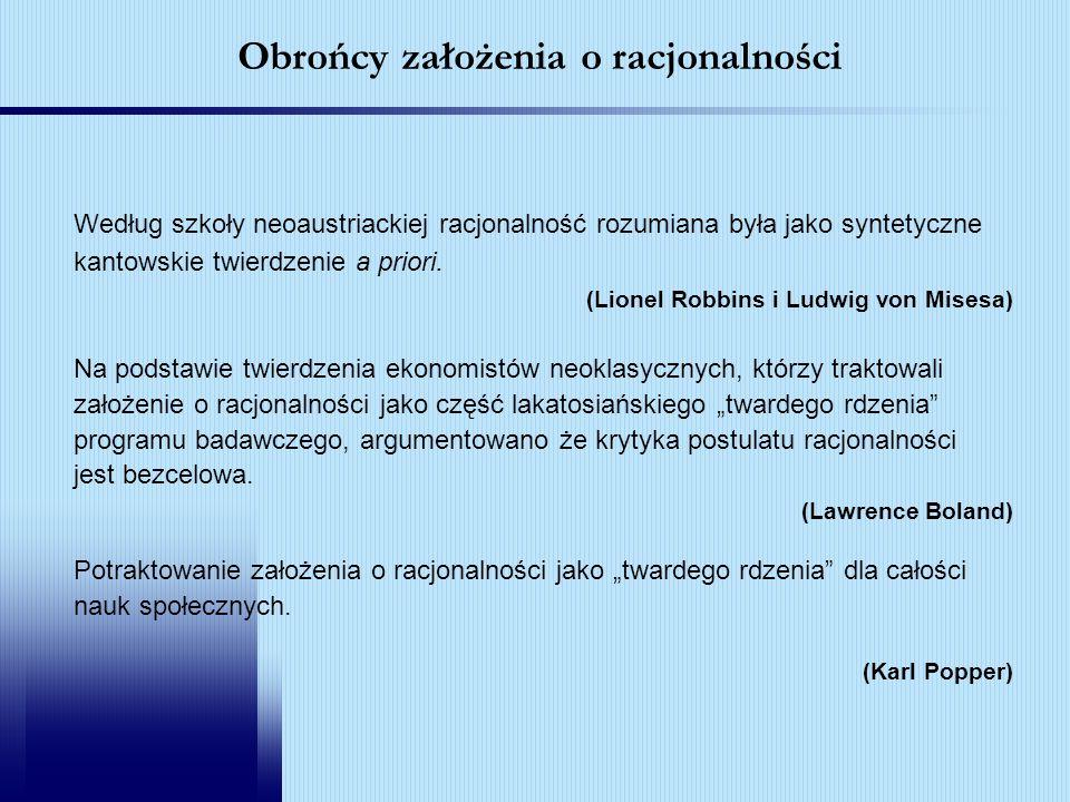 Obrońcy założenia o racjonalności Według szkoły neoaustriackiej racjonalność rozumiana była jako syntetyczne kantowskie twierdzenie a priori. (Lionel