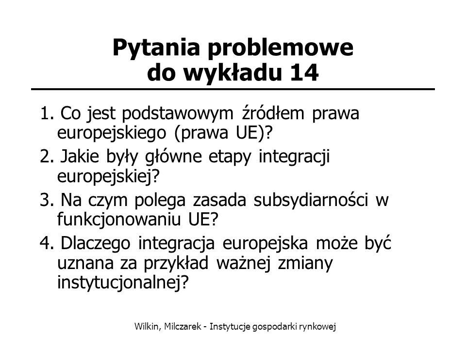 Wilkin, Milczarek - Instytucje gospodarki rynkowej Pytania problemowe do wykładu 14 1. Co jest podstawowym źródłem prawa europejskiego (prawa UE)? 2.