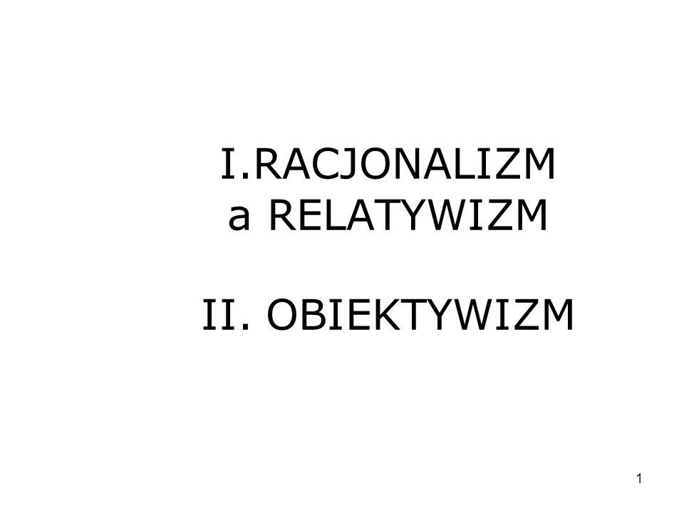 12 OBIEKTYWIZM a INDYWIDUALIZM Indywidualizm: zbiór prawdziwych przekonań głoszonych przez ludzi Problem: nieskończony regres racji Fundament wiedzy – zbiór zdań, których nie trzeba uzasadniać 1) Klasyczny racjonalizm – fundamenty poznawane za pomocą umysłu 2) Klasyczny empiryzm – fundamenty poznawane za pomocą umysłu