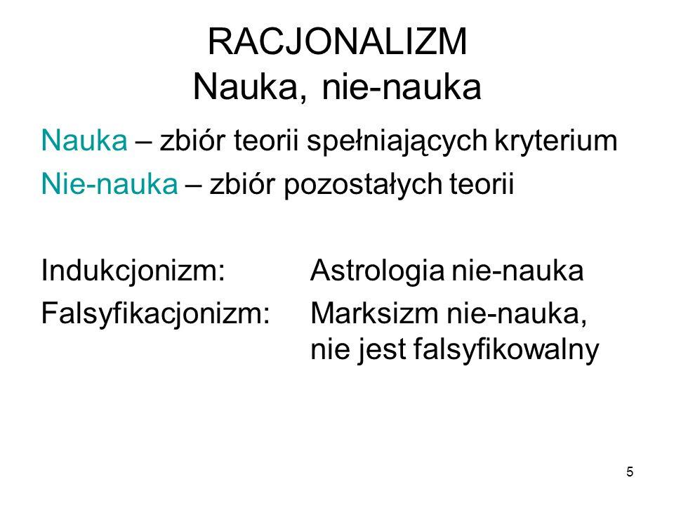 6 RELATYWIZM Nie istnieje uniwersalny, ponadczasowy standard Ocena teoriidokonywana przez jednostki/ społeczności.