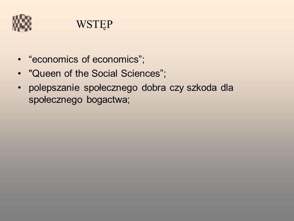 economics of economics; Queen of the Social Sciences; polepszanie społecznego dobra czy szkoda dla społecznego bogactwa; WSTĘP