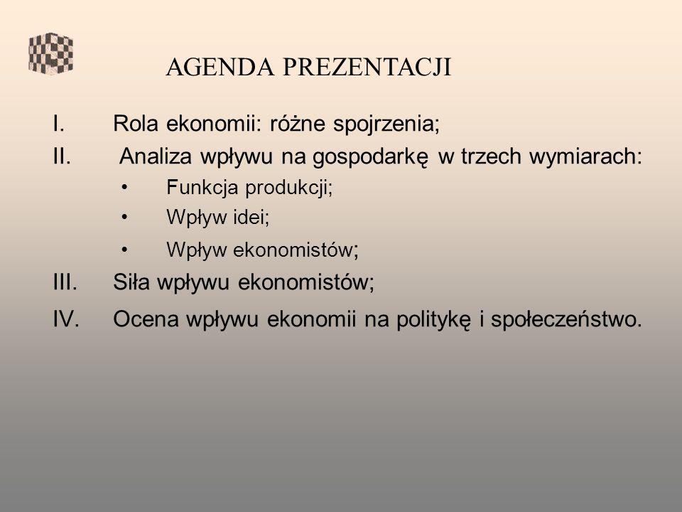 I.Rola ekonomii: różne spojrzenia; II.