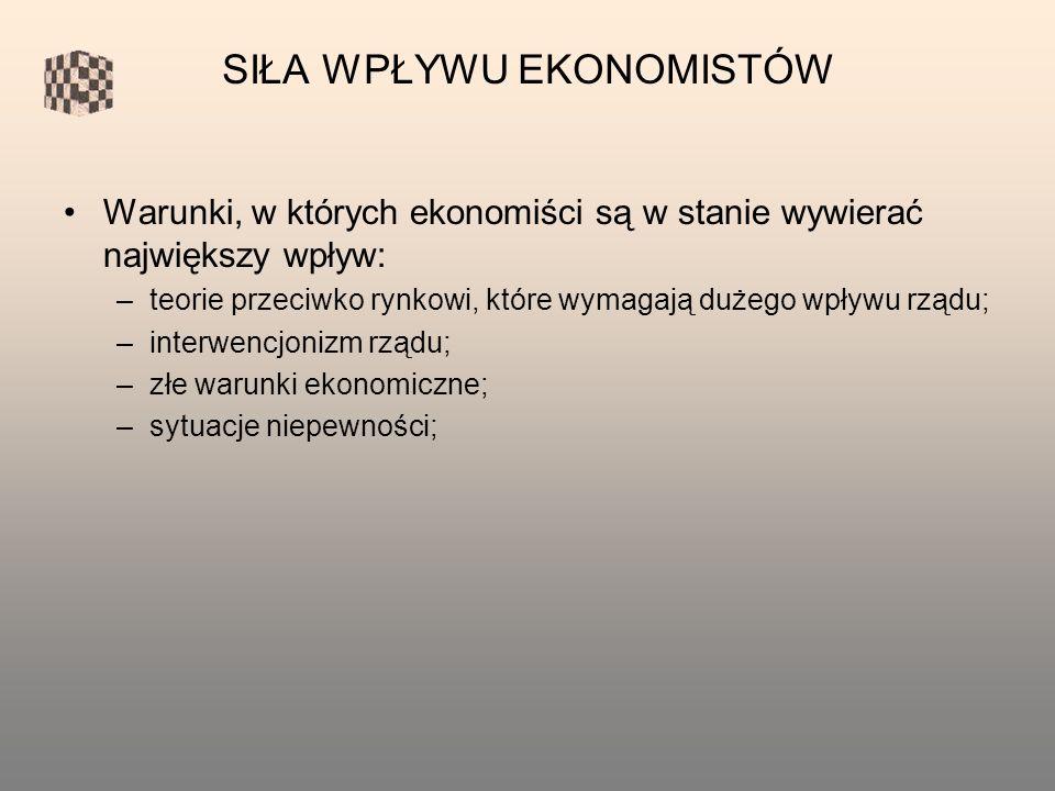 Warunki, w których ekonomiści są w stanie wywierać największy wpływ: –teorie przeciwko rynkowi, które wymagają dużego wpływu rządu; –interwencjonizm rządu; –złe warunki ekonomiczne; –sytuacje niepewności; SIŁA WPŁYWU EKONOMISTÓW
