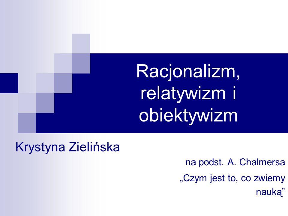 Krystyna Zielińska12 19 pażdziernika 2006 Obiektywizm Popierany przez Poppera i Lakatosa Ale również Marks: To nie świadomość określa byt, lecz byt społeczny określa świadomość społeczną Jednostka dążąca do zmiany społecznej stoi w obliczu sytuacji obiektywnej
