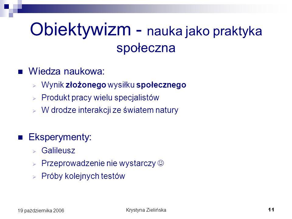 Krystyna Zielińska11 19 pażdziernika 2006 Obiektywizm - nauka jako praktyka społeczna Wiedza naukowa: Wynik złożonego wysiłku społecznego Produkt prac