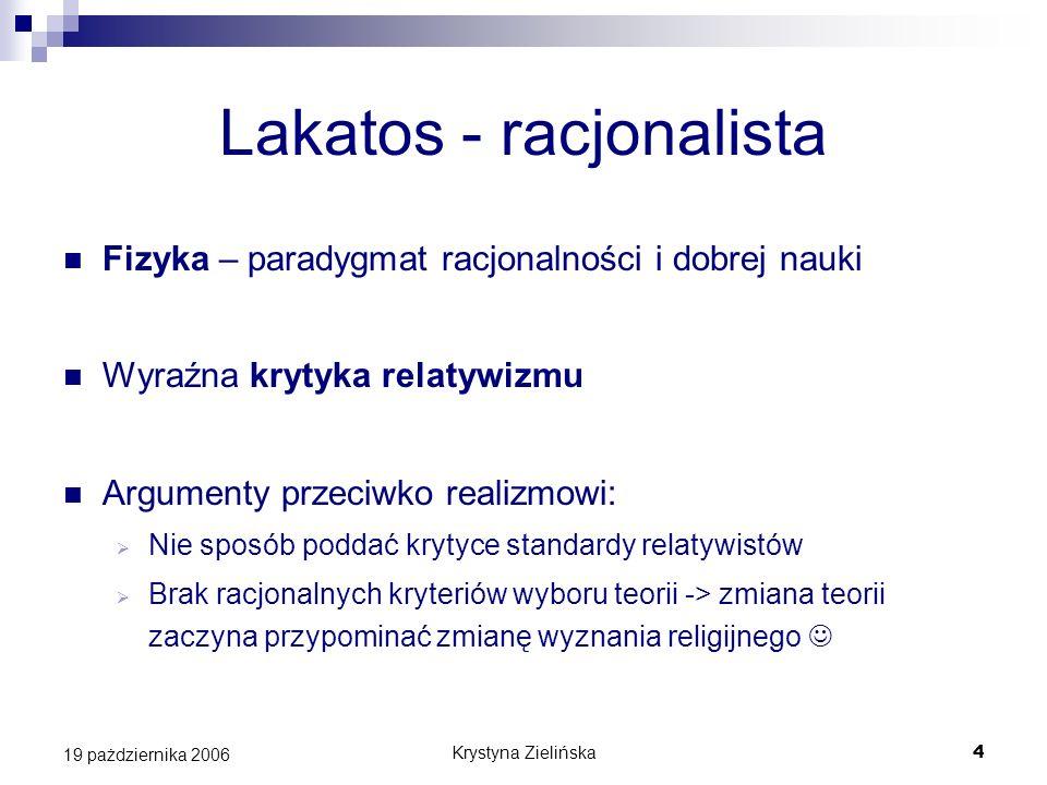 Krystyna Zielińska5 19 pażdziernika 2006 Lakatos – obrona racjonalizmu Metodologia naukowych programów badawczych lepiej służy jako narzędzie zbliżania się do prawdy […] niż jakakolwiek inna metodologia Rozwój nauki -> rywalizacja programów badawczych Postępowy = lepszy