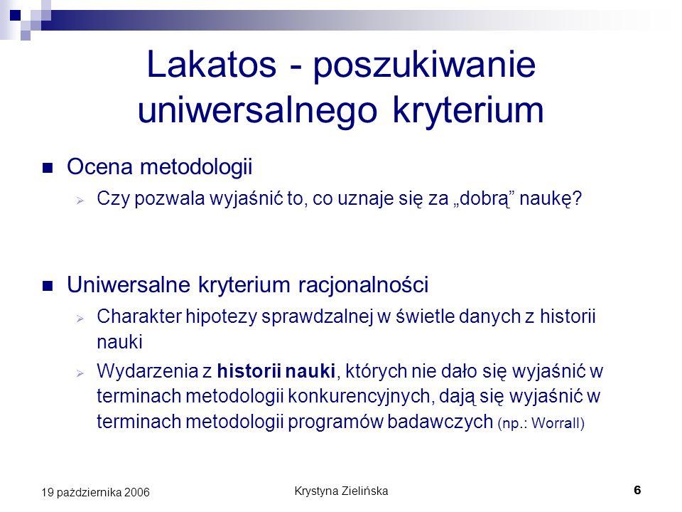 Krystyna Zielińska7 19 pażdziernika 2006 Lakatos - podsumowanie Jego metodologia wyjaśnia, na czym polega postęp w fizyce współczesnej Ale nie oferuje wskazówek dla postępu Jest w większym stopniu wskazówką dla historyka nauki niż dla uczonego [Worrall]