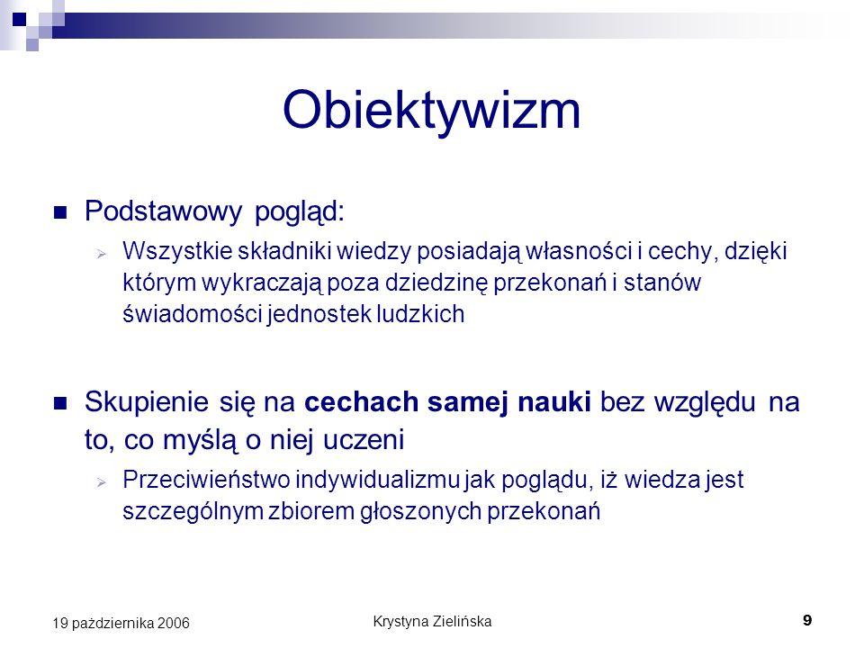 Krystyna Zielińska9 19 pażdziernika 2006 Obiektywizm Podstawowy pogląd: Wszystkie składniki wiedzy posiadają własności i cechy, dzięki którym wykracza