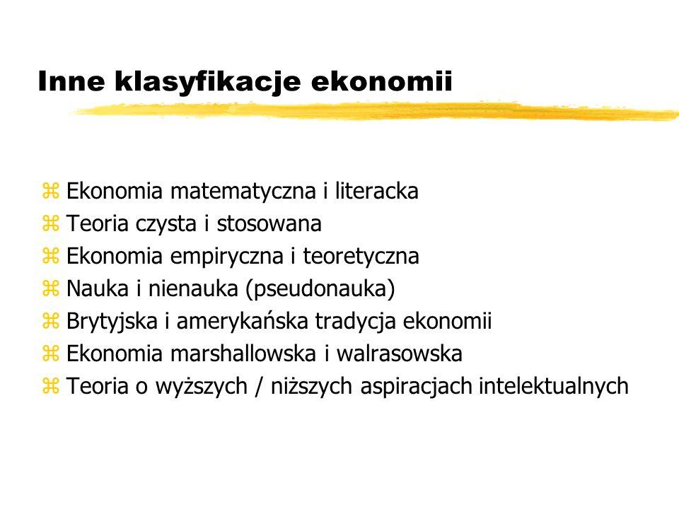 Inne klasyfikacje ekonomii zEkonomia matematyczna i literacka zTeoria czysta i stosowana zEkonomia empiryczna i teoretyczna zNauka i nienauka (pseudon