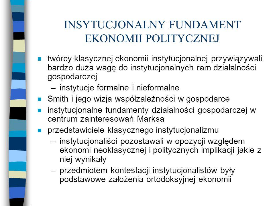 INSYTUCJONALNY FUNDAMENT EKONOMII POLITYCZNEJ - cd n krytyka instytucjonalizmu przez Blauga n w instytucjonaliźmie znajdują się cechy przypisywane ekonomi politycznej a) interdyscyplinarność b) ewolucyjność c) systemowe i holistyczne podejście do analizy gospodarowania d) zmienność preferencji i zachowań ludzi w procesach gospodarowania e) traktowanie gospodarki jako systemu władzy f) zwracanie szczególnej uwagi na procesy dystrybucji dochodów i bogactwa oraz skutki tych procesów w dziedzinie uwarstwienia społeczeństwa g) docenienie pierwiastka normatywnego w ekonomii, odwoływanie się do wartości i podkreślanie znaczenia nauki ekonomi dla formułowania polityki ekonomiczno-społecznej