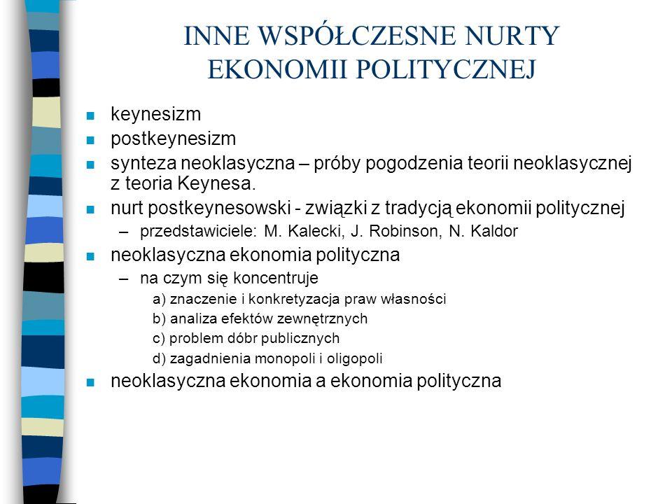 INNE WSPÓŁCZESNE NURTY EKONOMII POLITYCZNEJ n keynesizm n postkeynesizm n synteza neoklasyczna – próby pogodzenia teorii neoklasycznej z teoria Keynes