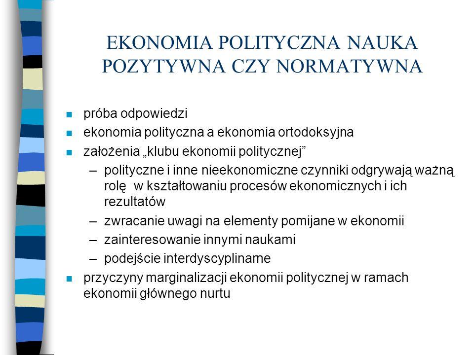 EKONOMIA POLITYCZNA NAUKA POZYTYWNA CZY NORMATYWNA - cd n ostatnie 20 lat - renesans ekonomi politycznej –niepowodzenia ekonomi ortodoksyjnej –holistyczne i systemowe podejście ekonomii politycznej –odkrycie znaczenia instytucji dla funkcjonowania gospodarki –zapotrzebowania na naukowe wsparcie polityki –nowe propozycje metodologiczne i nowe obszary badawcze