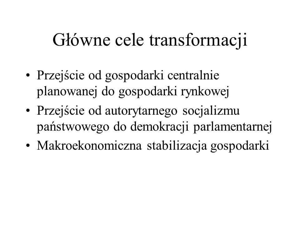 Główne cele transformacji Przejście od gospodarki centralnie planowanej do gospodarki rynkowej Przejście od autorytarnego socjalizmu państwowego do de
