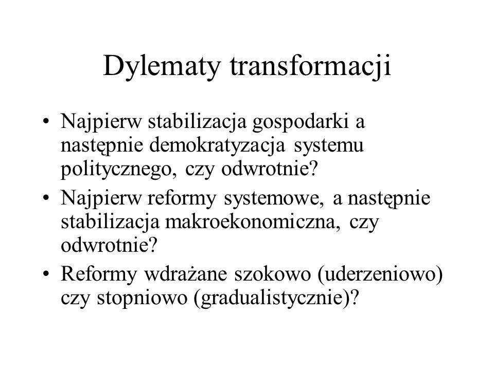 Dylematy transformacji Najpierw stabilizacja gospodarki a następnie demokratyzacja systemu politycznego, czy odwrotnie? Najpierw reformy systemowe, a