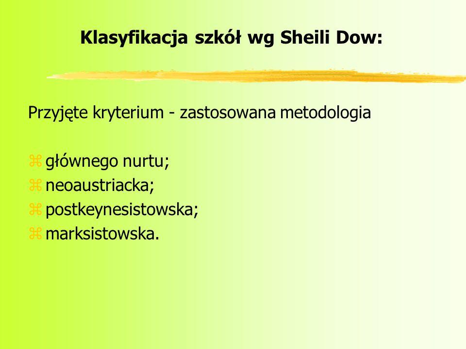 Klasyfikacja szkół wg Sheili Dow: Przyjęte kryterium - zastosowana metodologia zgłównego nurtu; zneoaustriacka; zpostkeynesistowska; zmarksistowska.