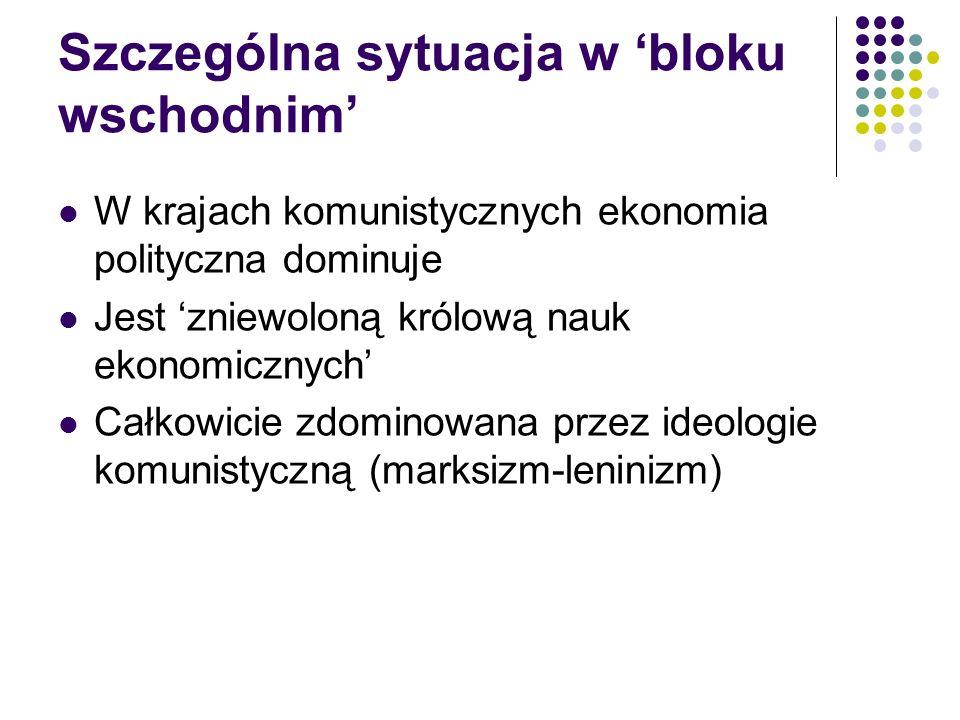 Sytuacja w PRLu Po odwilży 56 powstało wiele wartościowych prac z dziedziny ekonomii politycznej M.