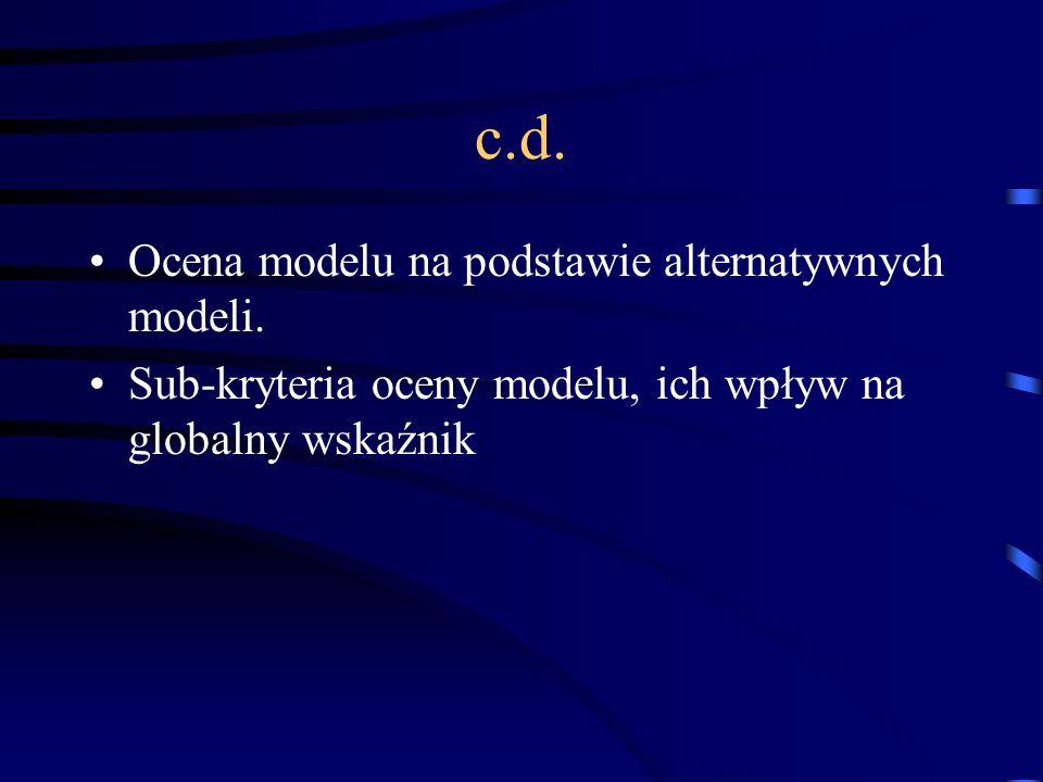 c.d. Ocena modelu na podstawie alternatywnych modeli.