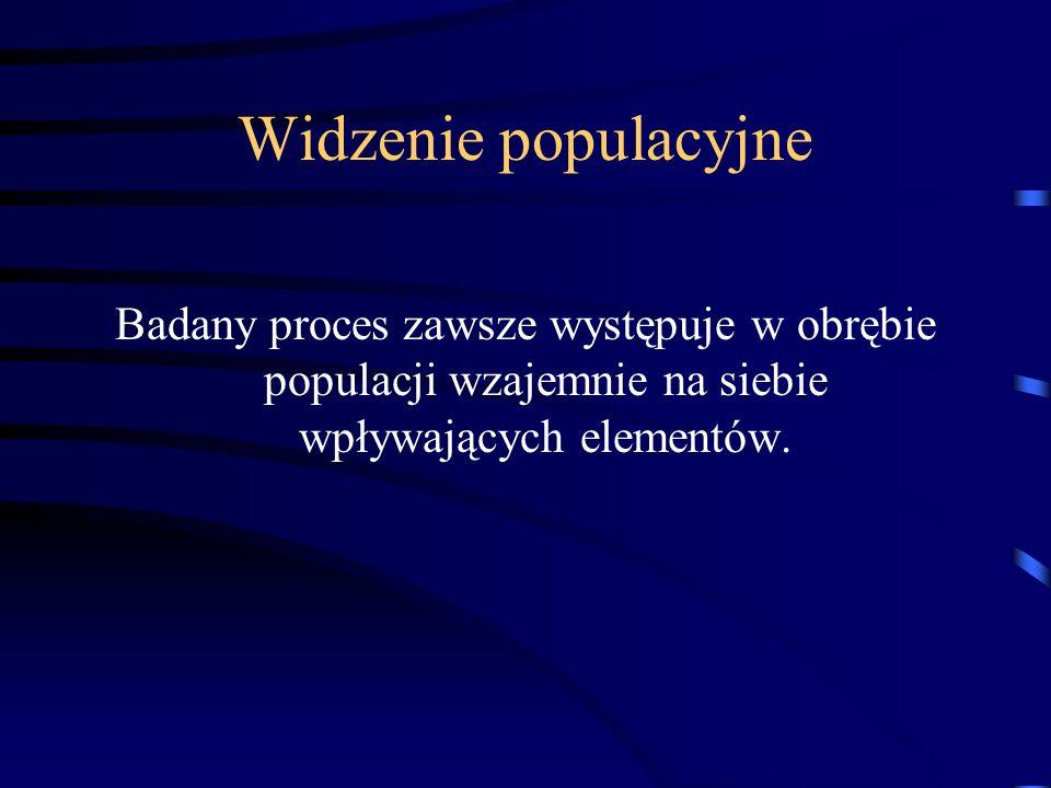 Widzenie populacyjne Badany proces zawsze występuje w obrębie populacji wzajemnie na siebie wpływających elementów.