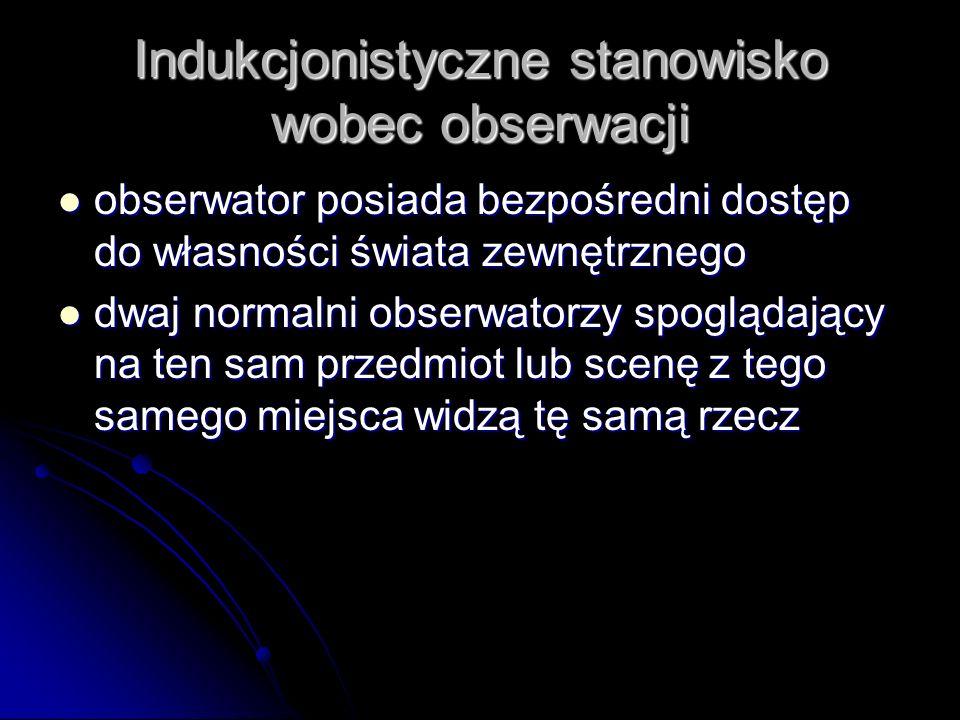 Indukcjonistyczne stanowisko wobec obserwacji obserwator posiada bezpośredni dostęp do własności świata zewnętrznego obserwator posiada bezpośredni do