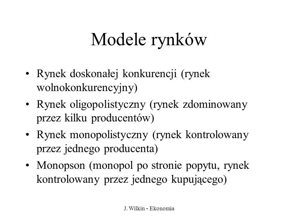 J. Wilkin - Ekonomia Modele rynków Rynek doskonałej konkurencji (rynek wolnokonkurencyjny) Rynek oligopolistyczny (rynek zdominowany przez kilku produ