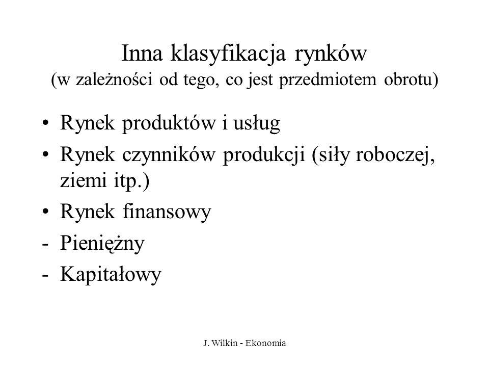 J. Wilkin - Ekonomia Inna klasyfikacja rynków (w zależności od tego, co jest przedmiotem obrotu) Rynek produktów i usług Rynek czynników produkcji (si