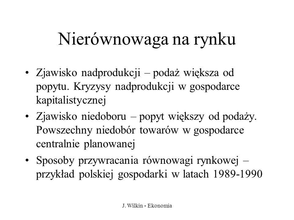 J. Wilkin - Ekonomia Nierównowaga na rynku Zjawisko nadprodukcji – podaż większa od popytu. Kryzysy nadprodukcji w gospodarce kapitalistycznej Zjawisk
