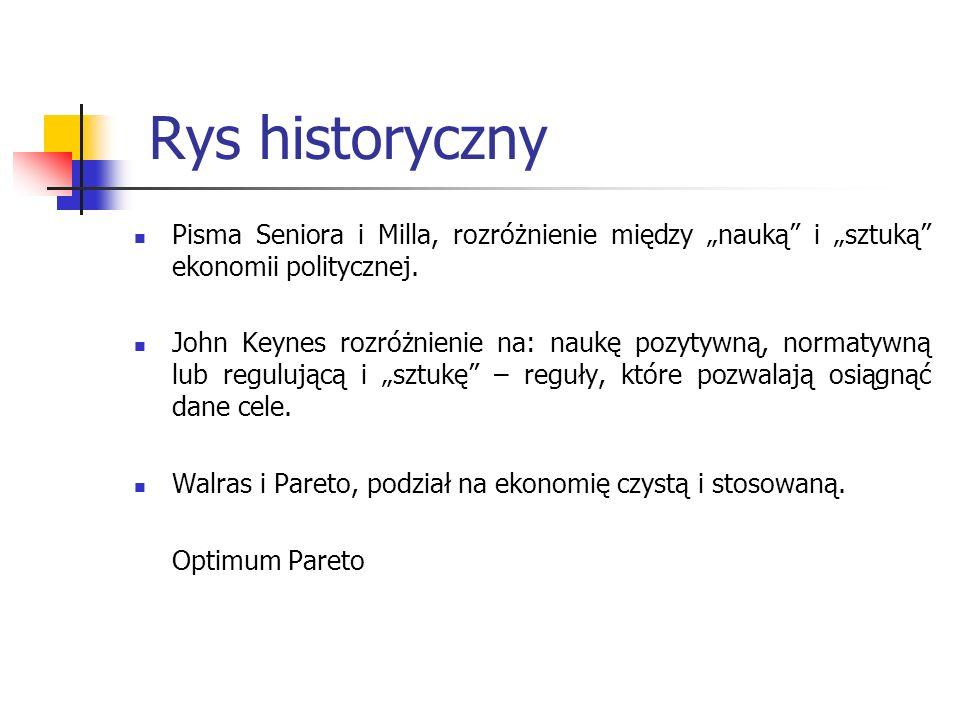 Rys historyczny Pisma Seniora i Milla, rozróżnienie między nauką i sztuką ekonomii politycznej.