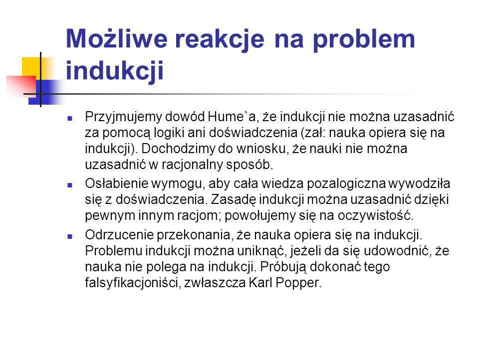Możliwe reakcje na problem indukcji Przyjmujemy dowód Hume`a, że indukcji nie można uzasadnić za pomocą logiki ani doświadczenia (zał: nauka opiera si