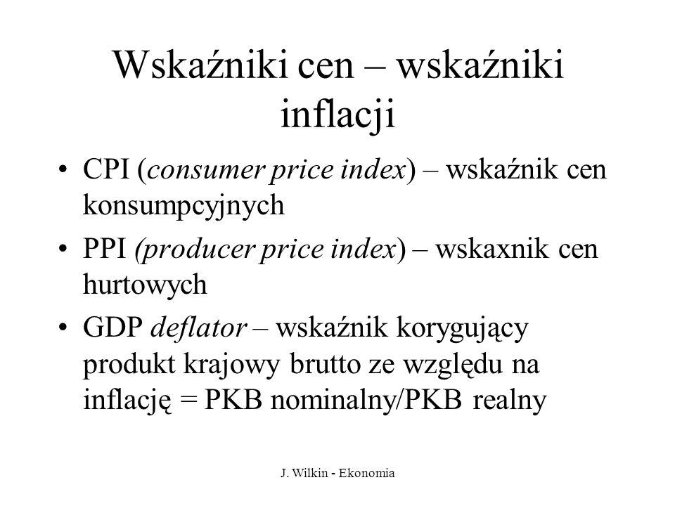 J. Wilkin - Ekonomia Wskaźniki cen – wskaźniki inflacji CPI (consumer price index) – wskaźnik cen konsumpcyjnych PPI (producer price index) – wskaxnik