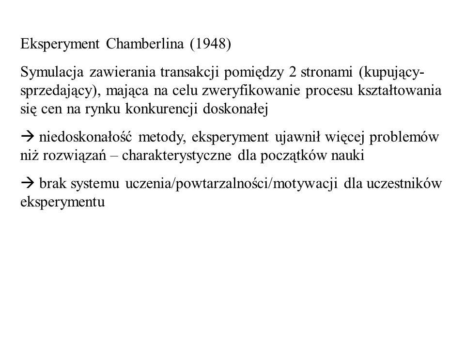 Eksperyment Chamberlina (1948) Symulacja zawierania transakcji pomiędzy 2 stronami (kupujący- sprzedający), mająca na celu zweryfikowanie procesu kszt