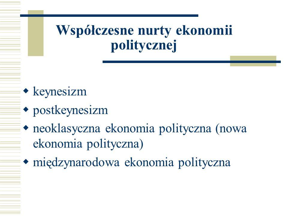Współczesne nurty ekonomii politycznej keynesizm postkeynesizm neoklasyczna ekonomia polityczna (nowa ekonomia polityczna) międzynarodowa ekonomia pol