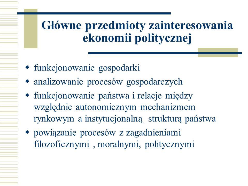 Główne przedmioty zainteresowania ekonomii politycznej funkcjonowanie gospodarki analizowanie procesów gospodarczych funkcjonowanie państwa i relacje