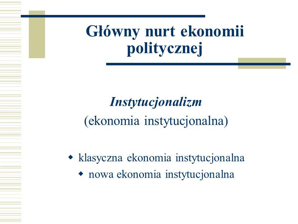 Klasyczna ekonomia instytucjonalna Główny elementem zainteresowań klasycznej ekonomii instytucjonalnej były instytucje formalne i nieformalne: system prawa normy moralne i etyczne organizacyjna struktura państwa stosunki własności