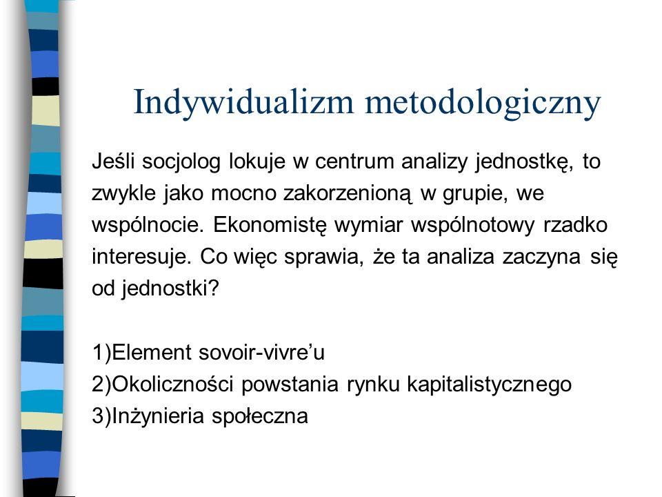 Indywidualizm metodologiczny Jeśli socjolog lokuje w centrum analizy jednostkę, to zwykle jako mocno zakorzenioną w grupie, we wspólnocie.