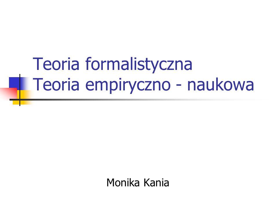 Teoria formalistyczna Teoria empiryczno - naukowa Monika Kania