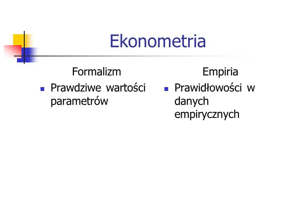 Ekonometria Formalizm Prawdziwe wartości parametrów Empiria Prawidłowości w danych empirycznych
