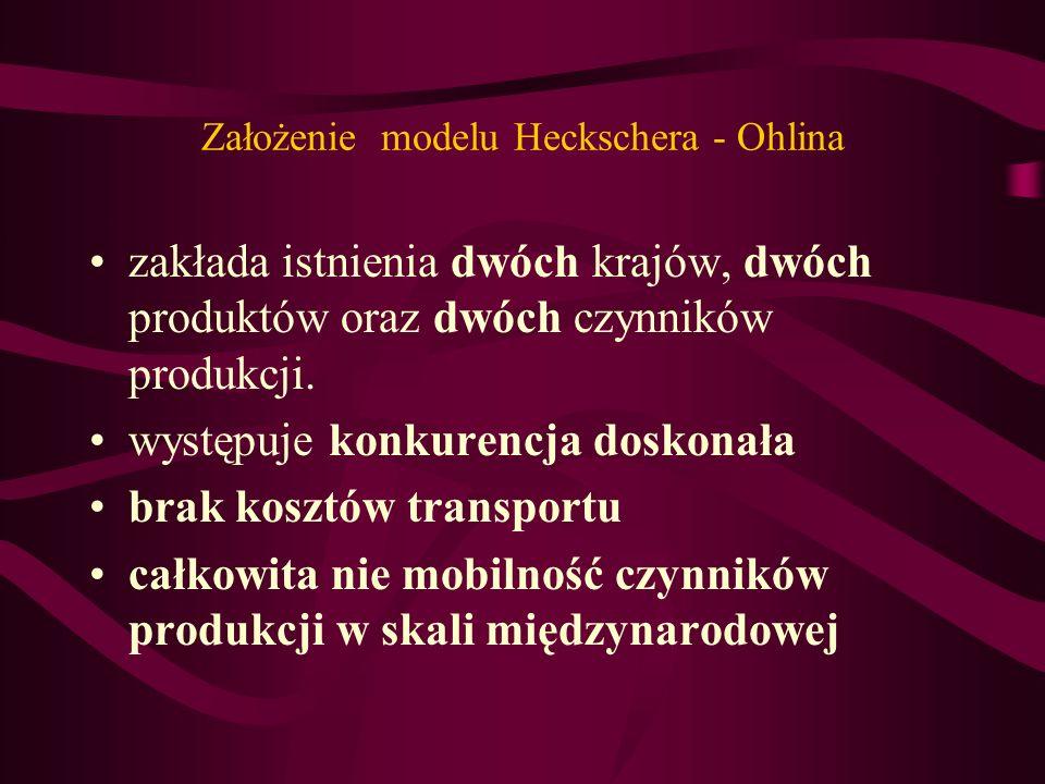 Założenie modelu Heckschera - Ohlina zakłada istnienia dwóch krajów, dwóch produktów oraz dwóch czynników produkcji. występuje konkurencja doskonała b