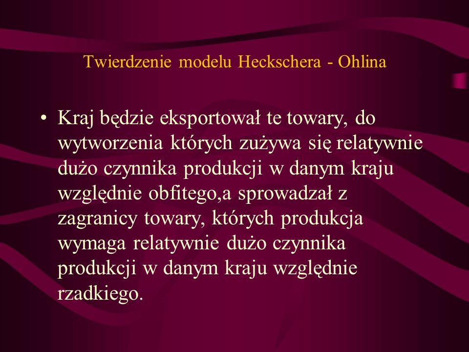 Twierdzenie modelu Heckschera - Ohlina Kraj będzie eksportował te towary, do wytworzenia których zużywa się relatywnie dużo czynnika produkcji w danym