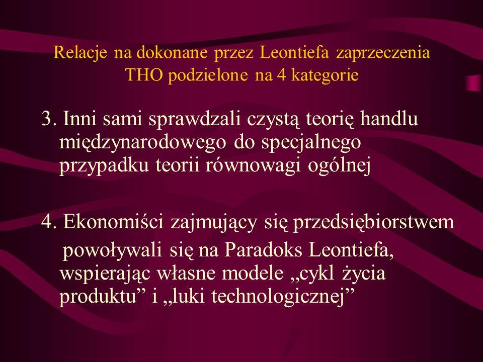 Relacje na dokonane przez Leontiefa zaprzeczenia THO podzielone na 4 kategorie 3. Inni sami sprawdzali czystą teorię handlu międzynarodowego do specja